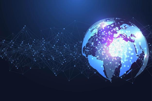 Globalna sieć społecznościowa. koncepcja sieci i połączenia danych. internet i technologia na całym świecie. fale dynamiczne połączone liniami świetlnymi splotu. wirtualna kompozycja cyfrowa. ilustracja wektorowa.