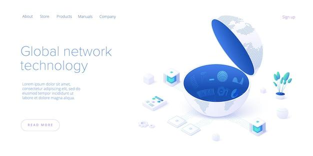 Globalna technologia sieciowa na izometrycznej stronie docelowej. światowe połączenie internetowe lub koncepcja komunikacji online w mediach społecznościowych. szablon układu banera internetowego.
