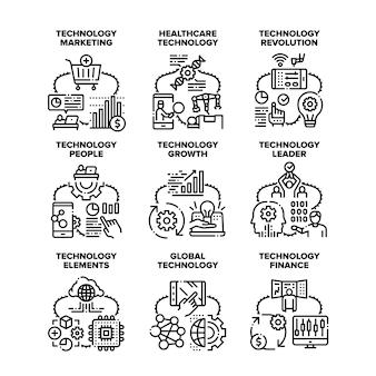 Globalna technologia zestaw ikon wektorowych ilustracje. globalna technologia i finanse wzrostu, ludzie maszyna do leczenia opieki zdrowotnej i rewolucja, marketing i lider w kolorze czarnym ilustracja
