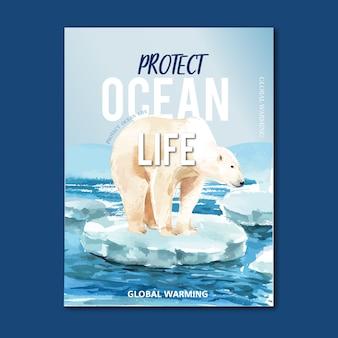 Globalne ocieplenie i zanieczyszczenie. broszura reklamowa ulotki reklamowej, zapisz szablon świata