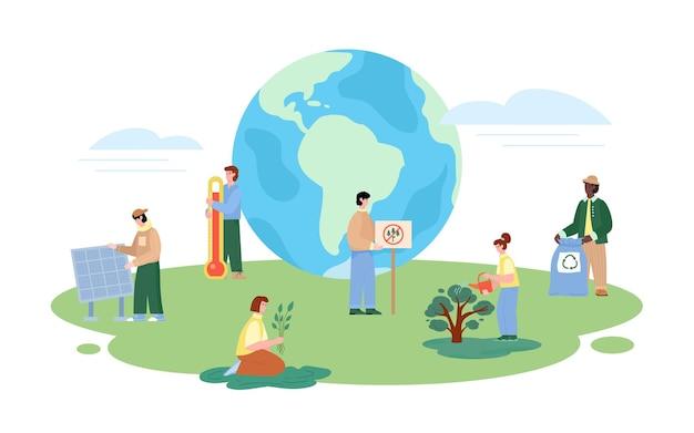 Globalne ocieplenie transparent z woluntariuszami płaskiej ilustracji wektorowych na białym tle