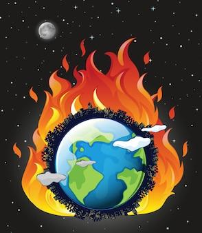Globalne ocieplenie z ziemią w ogniu