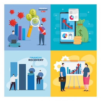 Globalne odzyskiwanie finansowe rynku po covid 19, zestaw ikon finansowych ilustracja projektu