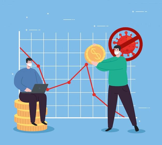 Globalne ożywienie finansowe rynku po covid 19, mężczyźni z biznesowych ikon ilustracyjnym projektem