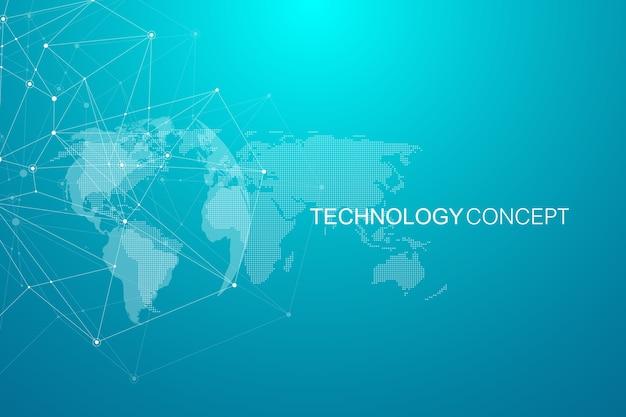 Globalne połączenia sieciowe z mapą świata. tło połączenia internetowego. abstrakcyjna struktura połączeń. wieloboczne tło.