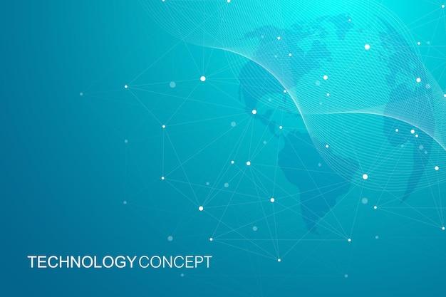 Globalne połączenia sieciowe z mapą świata. tło połączenia internetowego. abstrakcyjna struktura połączenia. wieloboczne tło. ilustracja wektorowa.