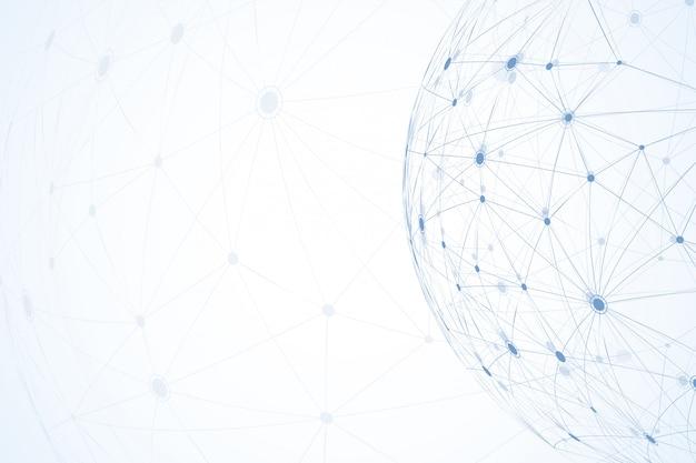 Globalne połączenia sieciowe z punktami i liniami. tło model szkieletowy. abstrakcyjna struktura połączeń. tło wielokąta przestrzeni.