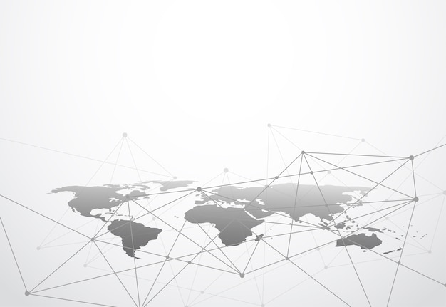 Globalne połączenie biznesowe w sieci. punkt mapy świata