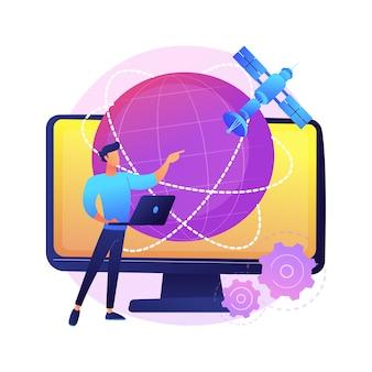 Globalne połączenie internetowe streszczenie ilustracja koncepcja. globalna komunikacja sieciowa, system połączeń satelitarnych, internet, technologia gps, media społecznościowe, szybki transfer danych.