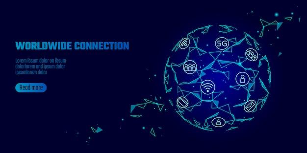 Globalne połączenie sieciowe 5g szybki internet.