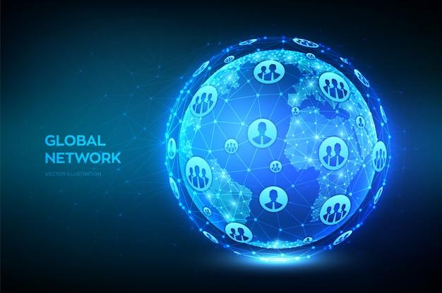 Globalne połączenie sieciowe. ilustracja glob ziemi. streszczenie wielokątne planety. konstrukcja low poly. globalnego biznesu. niebieskie futurystyczne połączenie z internetem. ilustracja.