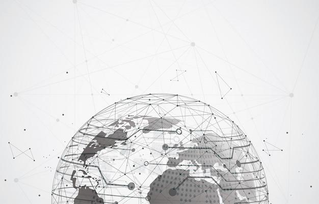 Globalne połączenie sieciowe. kompozycja punktu i linii na mapie świata
