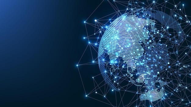 Globalne połączenie sieciowe koncepcja punktu i linii mapy świata