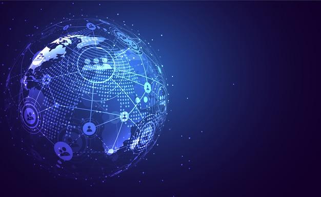 Globalne połączenie sieciowe. koncepcja składu punktu i linii na mapie świata
