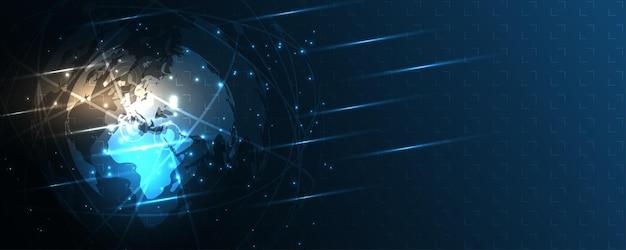 Globalne połączenie sieciowe mapa świata abstrakcyjna technologia tło globalna koncepcja innowacji biznesowych