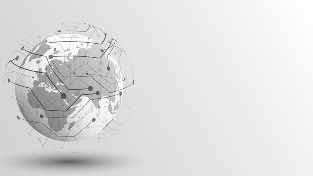 Globalne połączenie sieciowe mapa świata abstrakcyjna technologia tło globalne innowacje biznesowe