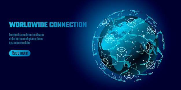 Globalne połączenie sieciowe. mapa świata europa afryka kontynent linia punktowa światowa technologia wymiany danych.