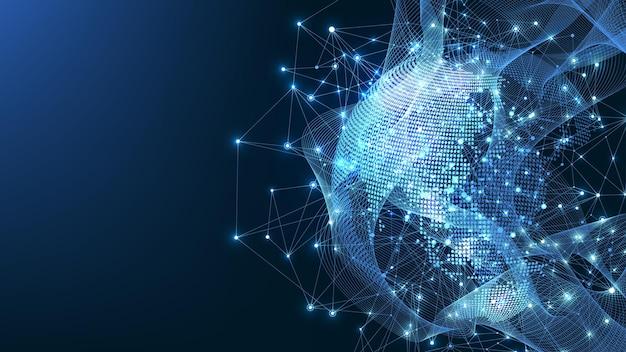Globalne połączenie sieciowe. mapa świata punkt i koncepcja skład linii globalnego biznesu. technologia internetowa. sieć społeczna. ilustracja wektorowa.