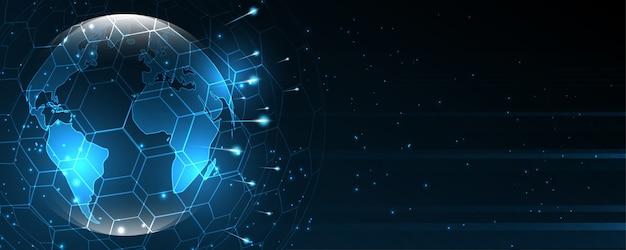 Globalne połączenie sieciowe mapa świata streszczenie technologia tło