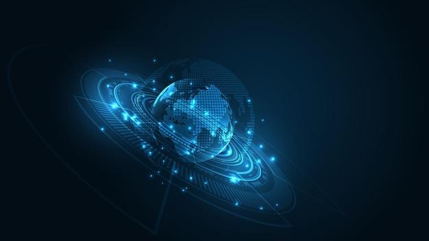 Globalne połączenie sieciowe mapa świata technologia tło globalna koncepcja innowacji biznesowych