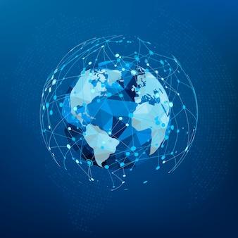 Globalne połączenie sieciowe. mapa świata wielokąta.
