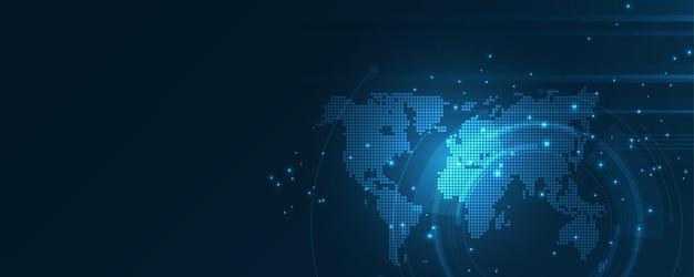 Globalne połączenie sieciowe mapa świata