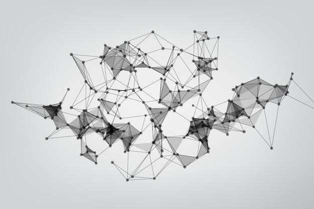 Globalne połączenie sieciowe. połączone geometrycznie. tło technologia łącząca kropki i linie.
