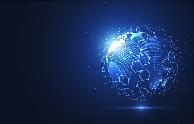 Globalne połączenie sieciowe. punkt i kompozycja linii na mapie świata