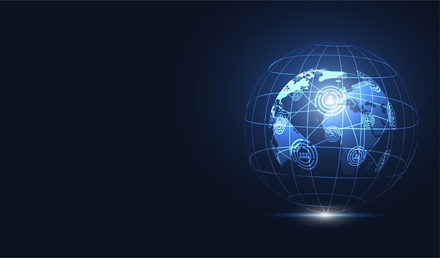Globalne połączenie sieciowe. punkt mapy świata