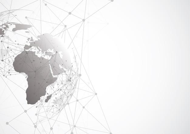 Globalne Połączenie Sieciowe. Punkt Mapy świata Premium Wektorów