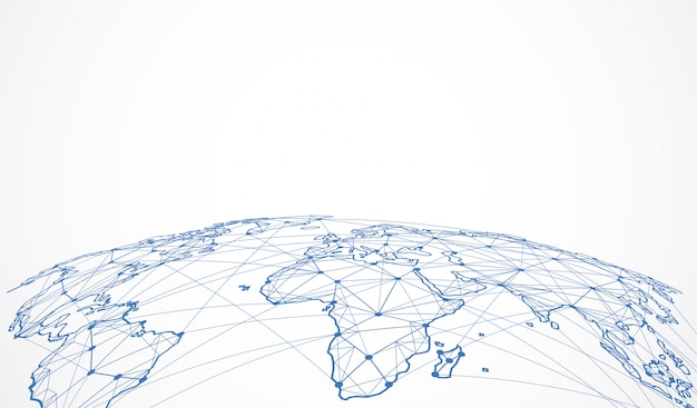 Globalne połączenie sieciowe. punkt na mapie świata