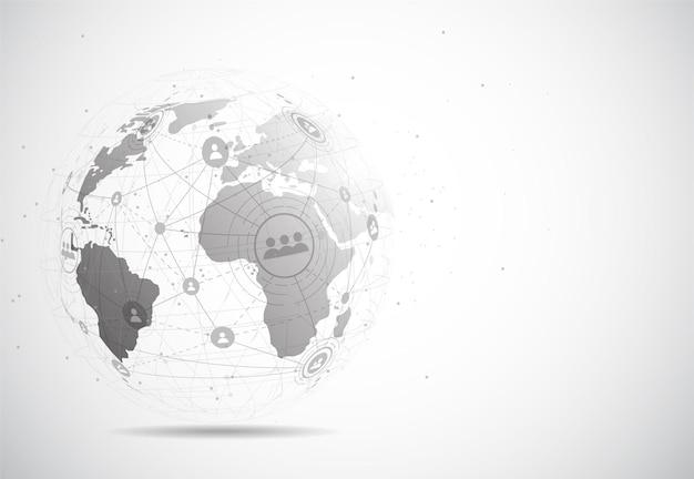 Globalne połączenie sieciowe. skład punktów i linii na mapie świata
