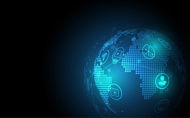 Globalne połączenie sieciowe tło mapy świata