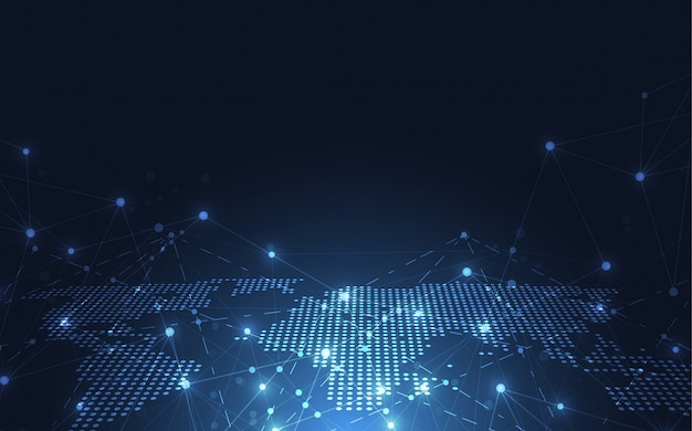 Globalne połączenie sieciowe. tło punktu mapy świata