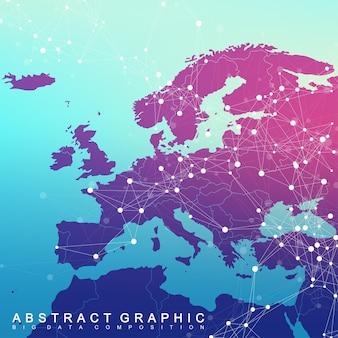 Globalne połączenie sieciowe z mapą europy. tło wizualizacji sieci i dużych zbiorów danych. globalny biznes. ilustracja wektorowa.