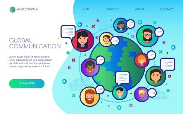 Globalnej komunikacji strony docelowej strony internetowej wektor kreskówka płaska konstrukcja. ogólnoświatowa społeczna sieć wi-fi, technologia, cyberprzestrzeń, czaty online, firma świadcząca usługi internetowe 5g, satelity przesyłają sygnał