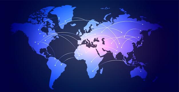 Globalnej sieci połączeń mapy świata cyfrowy tło