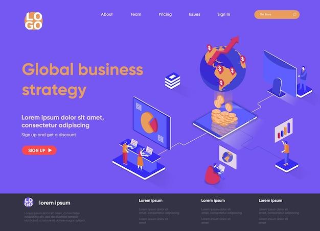 Globalny biznes 3d izometryczna ilustracja strony docelowej ze znakami ludzi