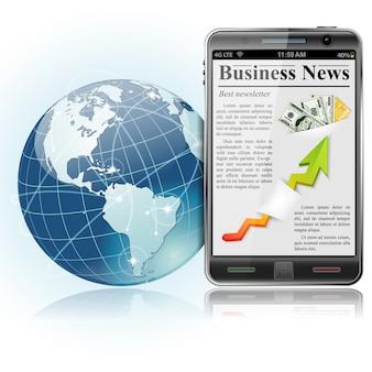 Globalny biznes. wiadomości na smartfonie