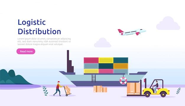 Globalny logistyczny dystrybuci usługa ilustraci pojęcie. dostawa na cały świat import eksport banner wysyłkowy z postacią ludzi do strony docelowej, prezentacji, mediów społecznościowych, plakatu lub mediów drukowanych