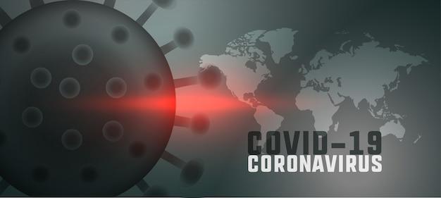 Globalny pandemiczny koronawirus tło z mapą świata