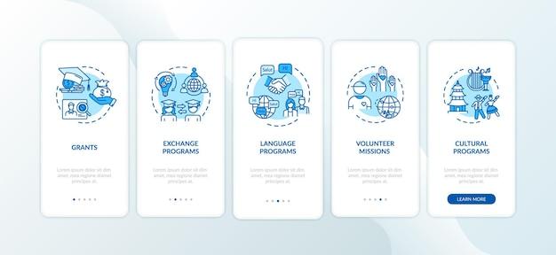 Globalny program wymiany na ekranie strony aplikacji mobilnej wprowadzający z koncepcjami. misja wolontariusza. edukacja za granicą przewodnik 5 kroków instrukcji graficznych. szablon wektorowy interfejsu użytkownika z kolorowymi ilustracjami rgb