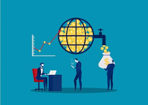 Globalny rynek finansowy. giełda papierów wartościowych. zarządzanie finansami i analiza danych finansowych. zespół biznesowy. ilustracji wektorowych