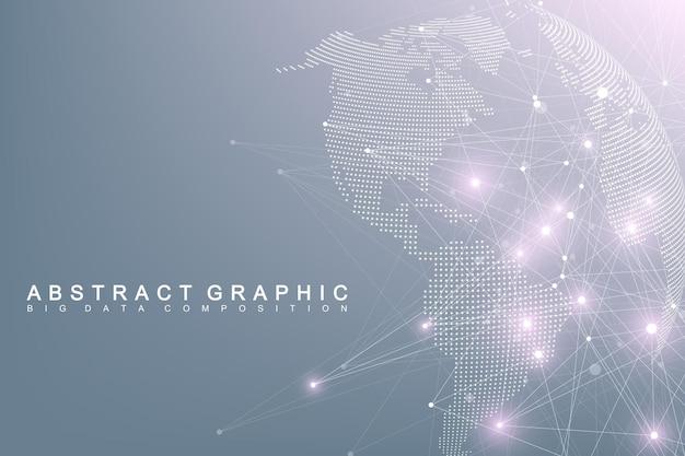 Globalny świat złożony z dużych zbiorów danych. graficzne streszczenie komunikacji. wirtualna minimalna tablica ze związkami. cyfrowa wizualizacja danych.