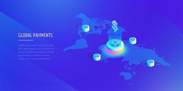 Globalny system płatności izometryczna mapa świata z globalnym systemem finansowym