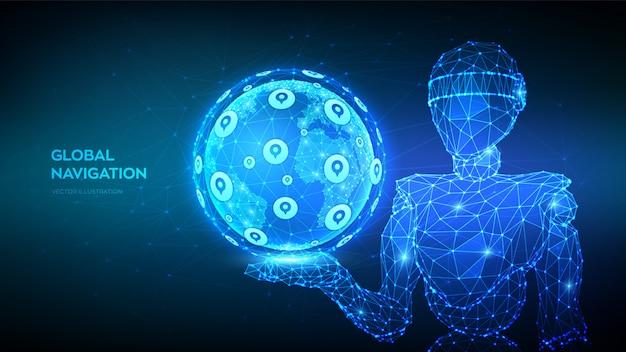 Globalny system pozycjonowania. usługi lokalizacji gps. abstrakta 3d niski wielokąta robot trzyma kulę ziemską. nawiguj po technologii mapowania.