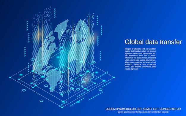 Globalny transfer danych płaski 3d izometryczny ilustracja koncepcja wektorowa
