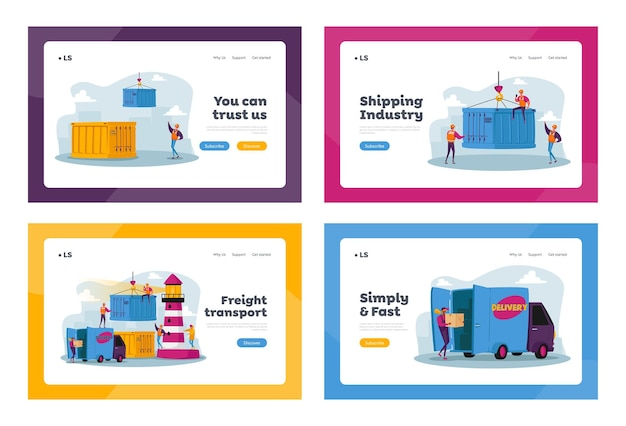 Globalny zestaw szablonów strony docelowej logistyki morskiej. postacie pracują w porcie morskim do załadunku towarów, porcie wysyłkowym z kontenerami ładunkowymi dźwigu portowego