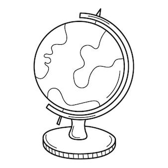 Globus na stojaku. przedmiot szkolny. gryzmolić. globus. ilustracja wektorowa czarno-białe rysowane ręcznie.