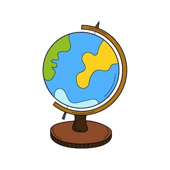Globus na stojaku. przedmiot szkolny. gryzmolić. globus. ilustracja wektorowa kolorowe rysowane ręcznie.